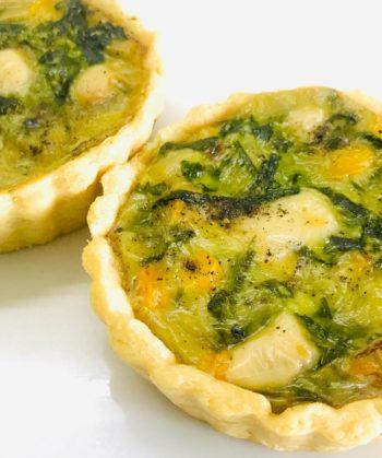 Creamy Spinach Corn Quiche Order Online Bangalore. Shortcrust Pastry Online Bangalore Cafe Hops.